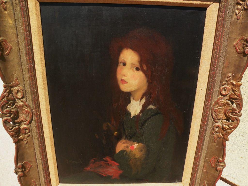 American art circa 1910 impressionist painting of young red-headed girl signed HARWOOD