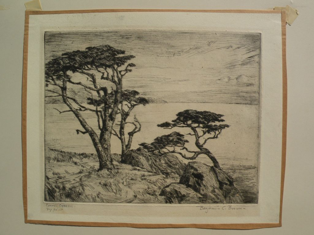 "BENJAMIN CHAMBERS BROWN (1865-1942) pencil signed drypoint etching ""Carmel Cypress"" by important California plein air artist"