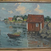 Signed impressionist European art landscape of lakeside summer cottages
