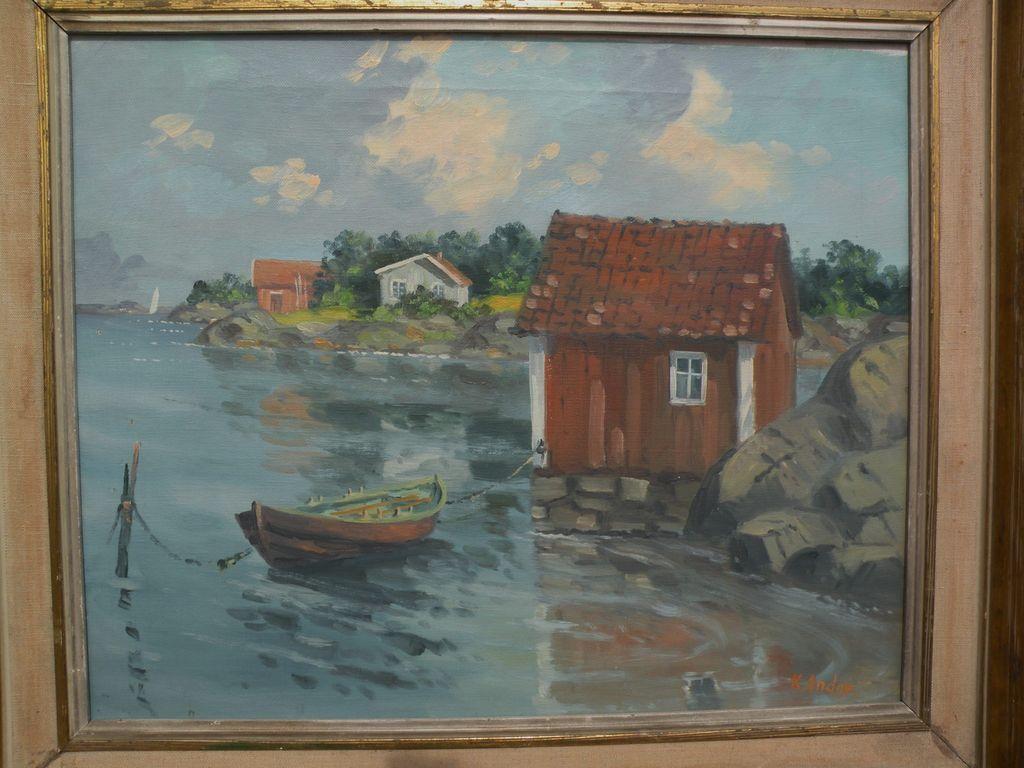 Signed impressionist European art landscape of lakeside summer cottages