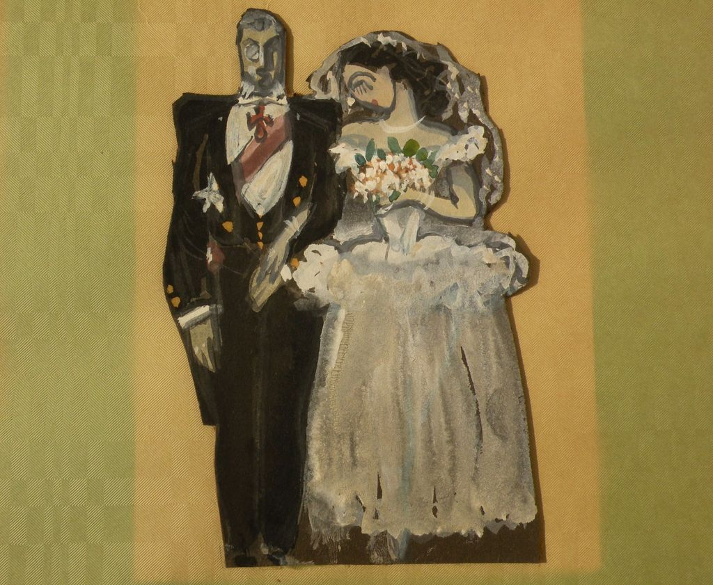 Painted cut-out image of married couple