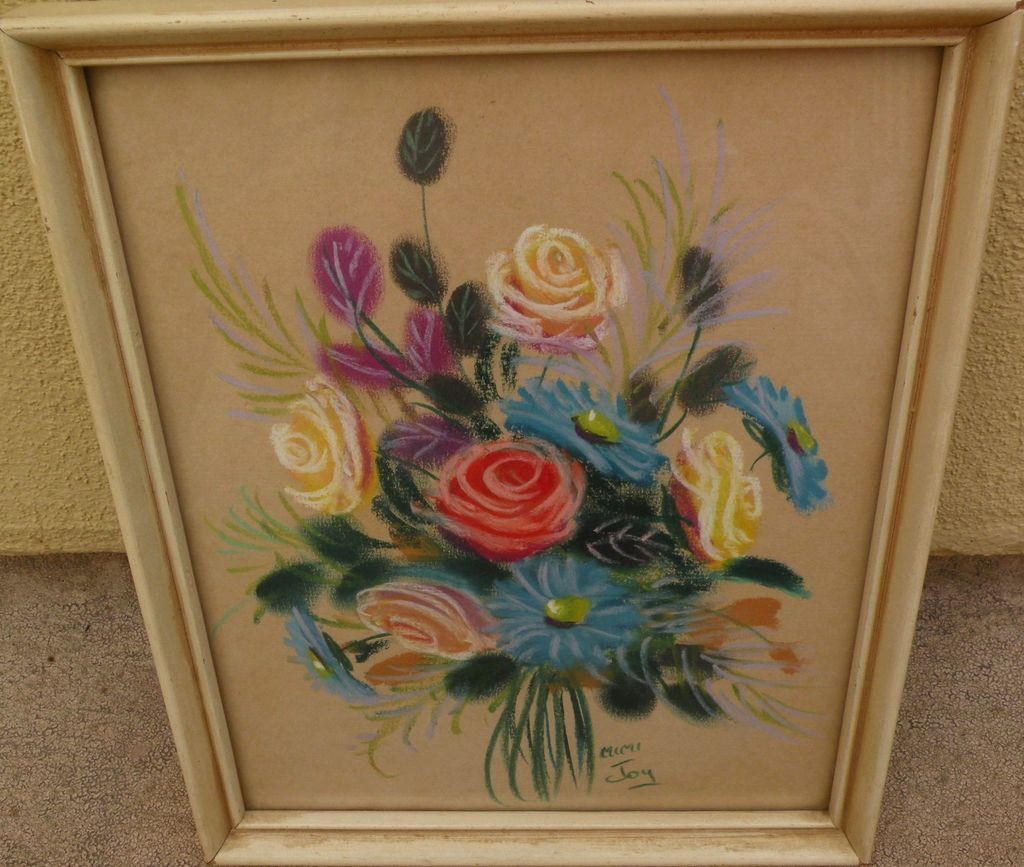 MIMI JOY (Mabel C. Heyde) original still life floral pastel by listed California artist