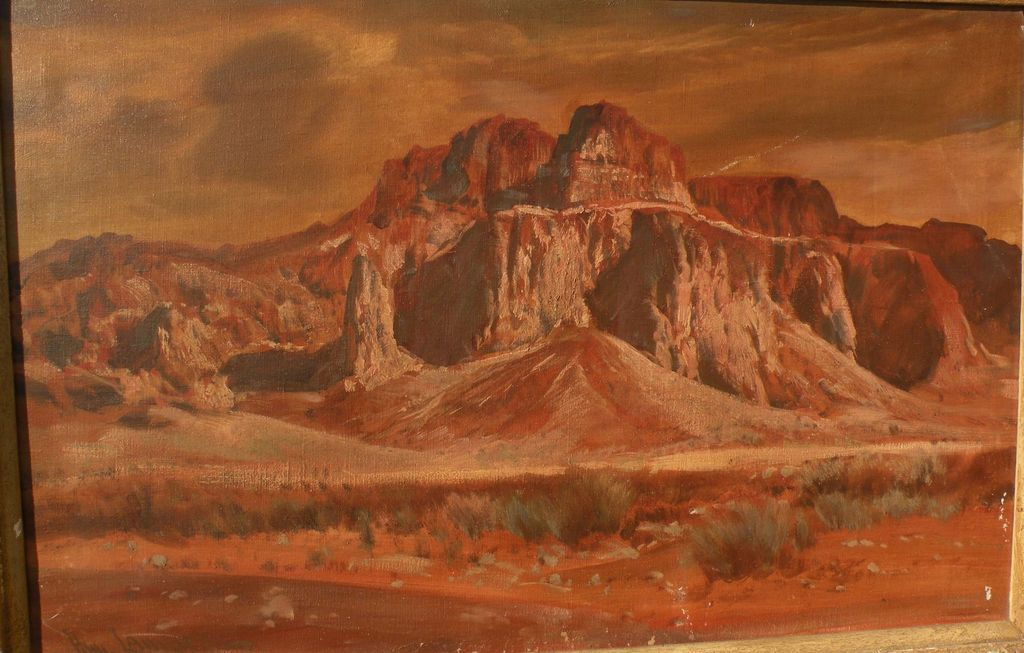 PAUL LAURITZ (1889-1975) plein air painting of Arizona desert mountains by California well listed artist