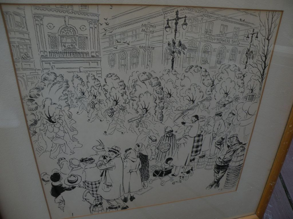 Illustration art 1952 signed ink drawing of Mummers Day parade in Philadelphia