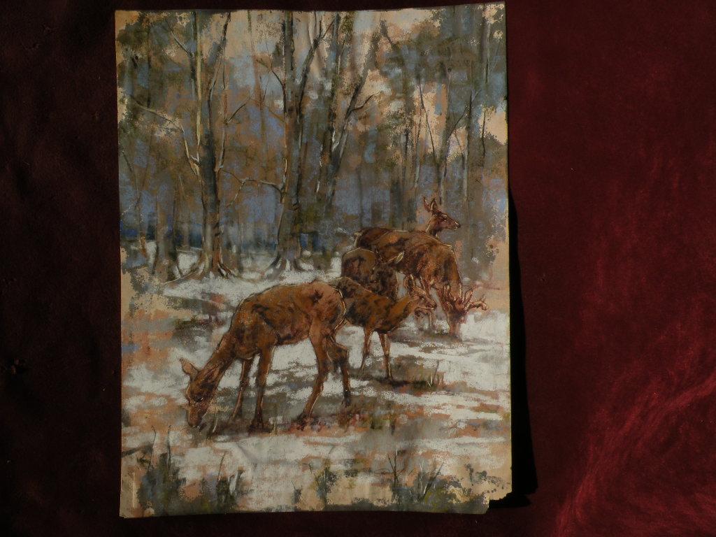 WOLF POGZEBA (1936-1982) listed artist Western American wildlife art pastel painting