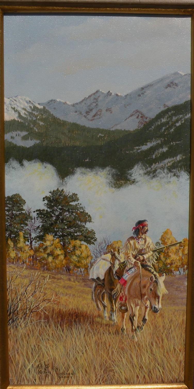 ART KOBER contemporary western American art landscape oil painting of Native American on horseback