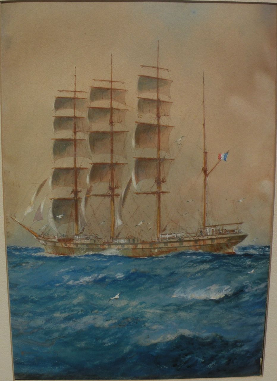 WILLIAM MINSHALL BIRCHALL (1884-1941) Watercolor and gouache painting of a French tall ship at sea‏