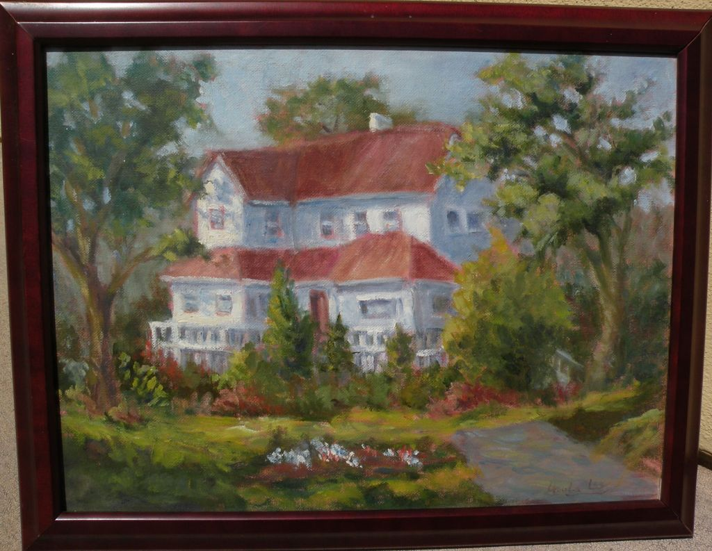 Impressionist painting of a large older Midwestern house