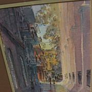 Louisiana Art contemporary watercolor painting of Pirates Alley New Orleans