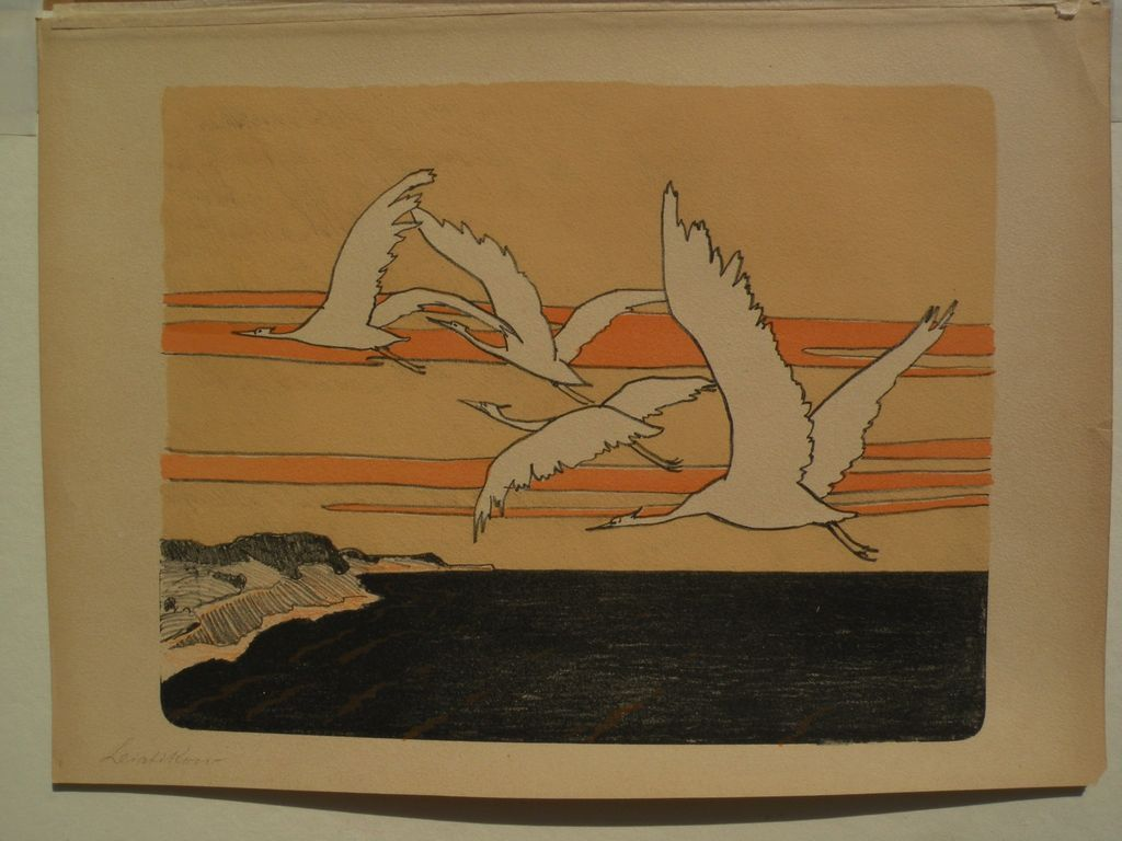 "WALTER LEISTIKOW (1865-1908) German art pencil signed lithograph print ""Cranes"""