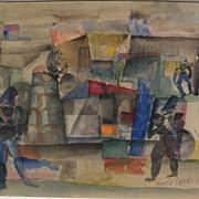 ROMOLO ESPOSITO (1913-1991) Swiss art modernist watercolor painting