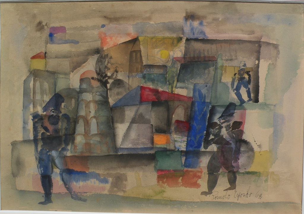 ROMOLO ESPOSITO (1913-1991) Swiss art modernist watercolor painting