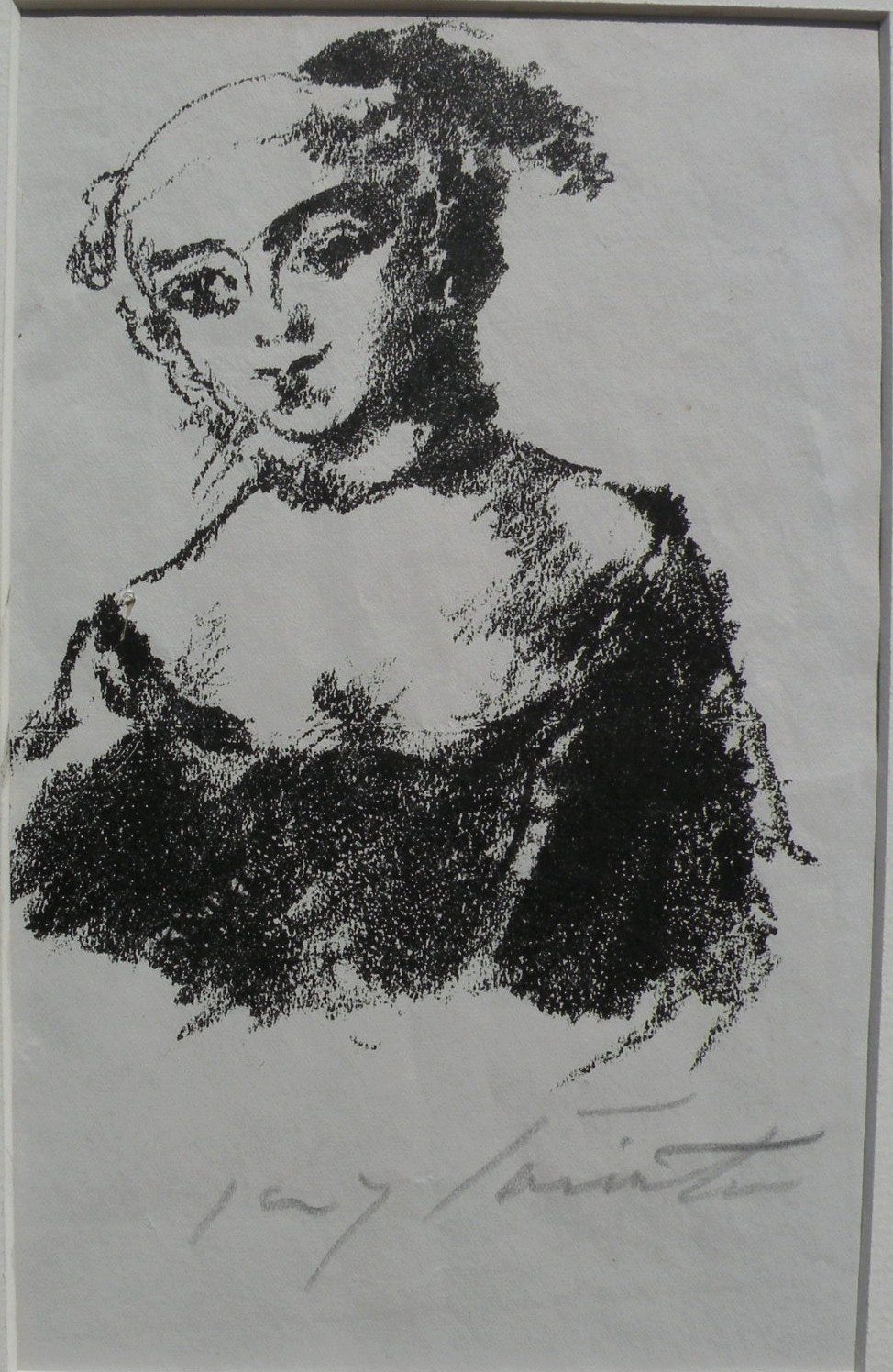 """LOVIS CORINTH (1858-1925) pencil signed lithograph """"Die Markgrafin von Bayreuth"""" by highly important German artist"""