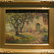 OTTO CLASSEN (1868-1939) vintage California impressionist art painting of Spanish style home and yard