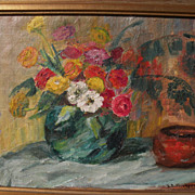 Signed impressionist vintage still life painting