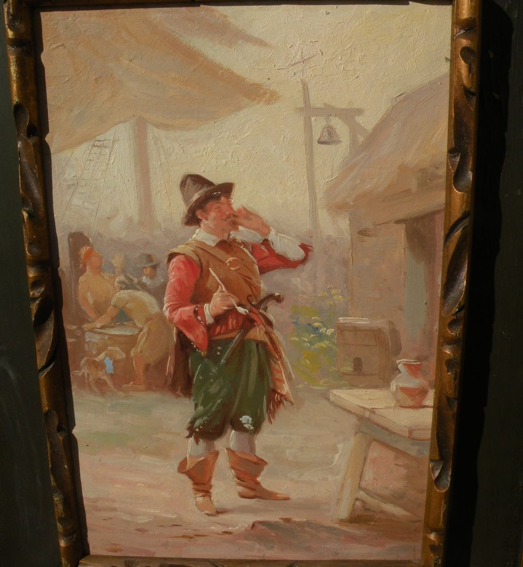 Illustration art N. C. Wyeth style painting of 17th century  swashbuckler pirate cavalier
