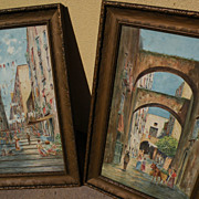 Italian watercolor art PAIR paintings of street scenes circa 1900