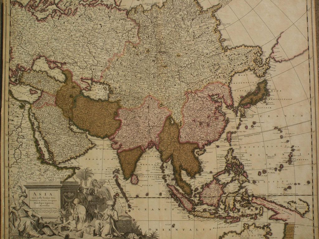 Antique circa 1710 map of Asia by cartographers Gerardo and Leonardo Valk