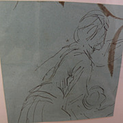 HANS HERRMANN (1858-1942) original ink drawing sketch of a female figure