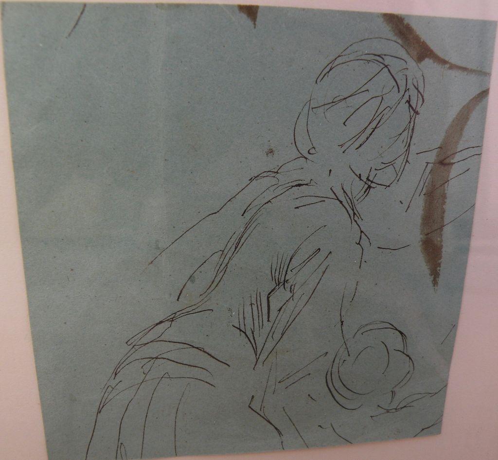 HANS HERRMANN (1858-1942) original ink drawing sketch of a female figure