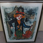 ROGER ETIENNE (1922-) mixed media collage impressionist 1972 painting of clown by noted French-American artist