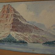 RICHARD LEROY CORBALEY (1882-1960) watercolor landscape painting of Montana mountain
