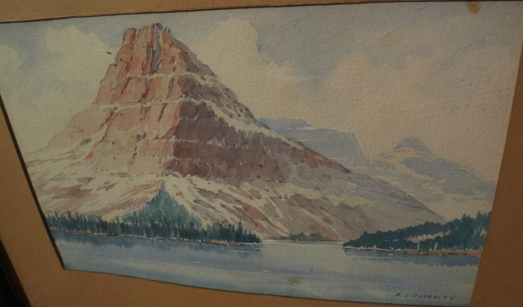 RICHARD LEROY CORBALEY (1882-1960) watercolor landscape painting of Montana mountain