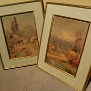 FUKUTARO TERAUCHI (1891-) Japanese watercolor PAIR of fine landscape paintings