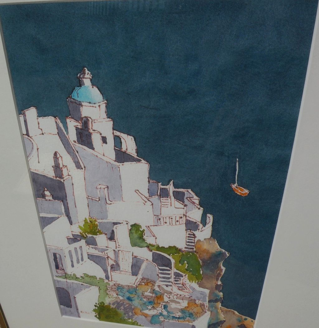 Greek contemporary painting of whitewashed architecture by the deep blue sea