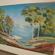 Impressionist pastel landscape drawing signed