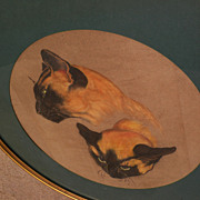 Vintage large pastel drawing of cats in round frame