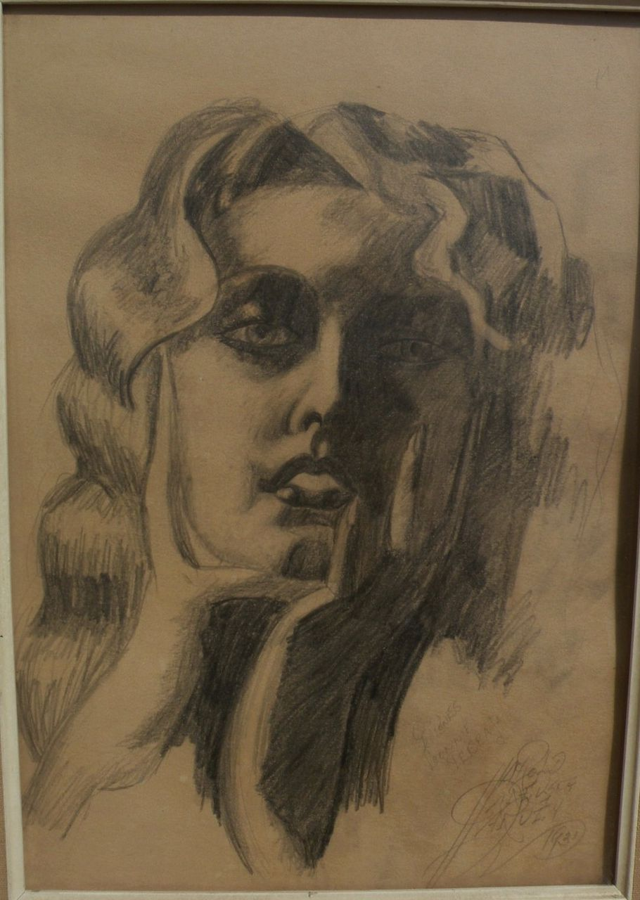 Signed 1931 modernist pencil drawing of a young woman
