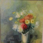 HARRY YOSHIZUMI (1922-) impressionistic 1959 modernist still life painting by Japanese American artist