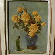 American impressionist signed still life oil painting