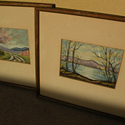 JAMES RALEIGH ABRAHAM (1909-) **pair** pastel landscape drawings by Indiana artist