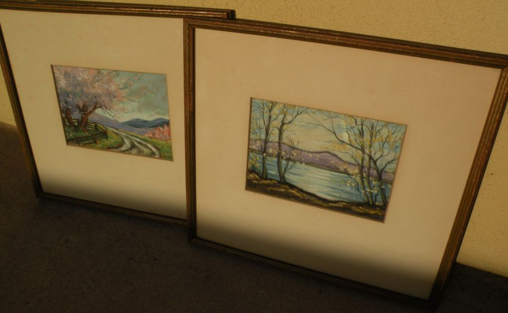 JAMES RALEIGH ABRAHAM (1909-) **pair** pastel landscape drawings by Indiana artist‏