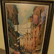 Old Italian watercolor art signed street scene of Naples