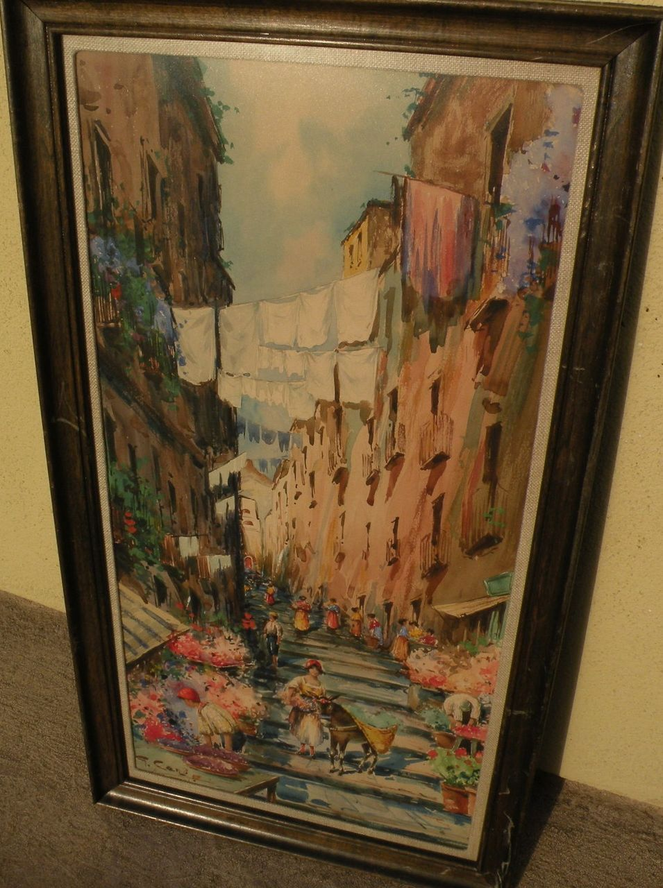 Old Italian watercolor art signed street scene of Naples
