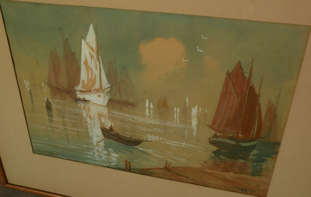 Circa 1930's impressionist watercolor and gouache harbor painting by American artist Jacob Vanderbilt‏