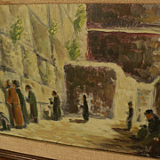 Jewish art impressionist signed painting of religious men praying at the Wailing Wall in Jerusalem