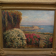 WILLIAM ADAM (1846-1931) California plein air art painting of a garden‏ by the sea