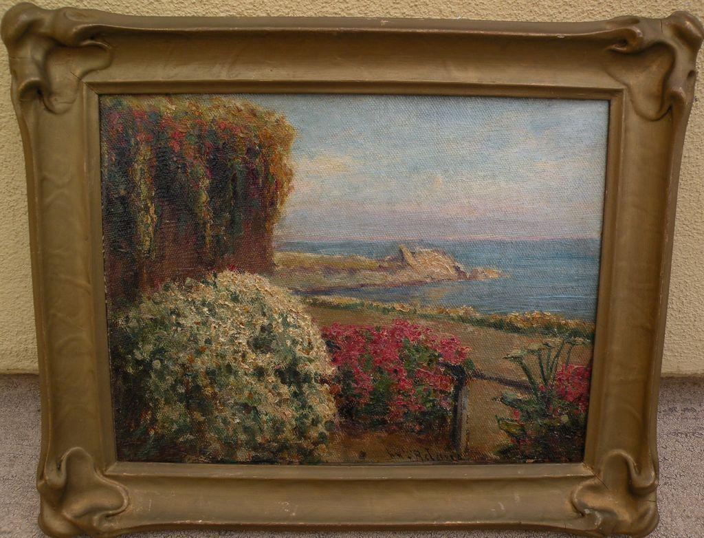 WILLIAM ADAM (1846-1931) California plein air art painting of a garden by the sea