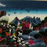 Naive art colorful small painting of Ecuadorean Andes scene with figures