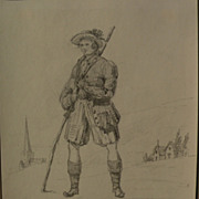 Early 19th century Swiss art pencil drawing of a man