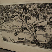 """WALTER RONALD LOCKE (1883-1949) Florida art pencil signed etching """"Peace on the Anclote"""""""