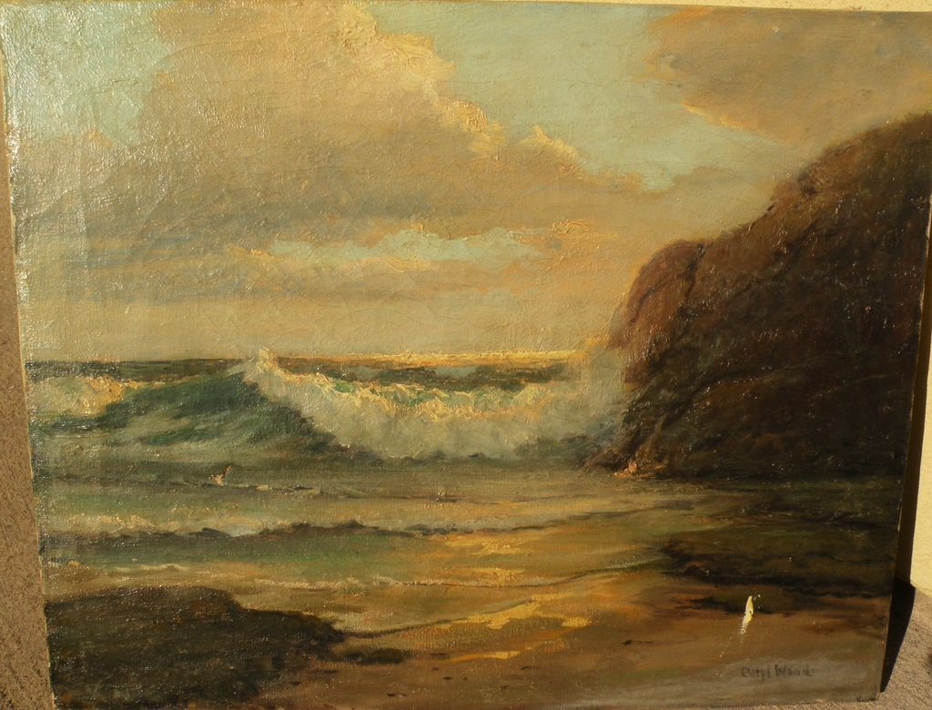CARYL WOOD (20th century California) impressionist painting of waves on the beach by wife of Robert Wood