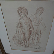 ACHILLE-EMILE OTHON FRIESZ (1879-1949) crayon drawing of two standing nudes by important French Fauvist artist