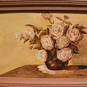 EVYLENA NUNN MILLER (1888-1966) California art vintage watercolor still life painting of roses