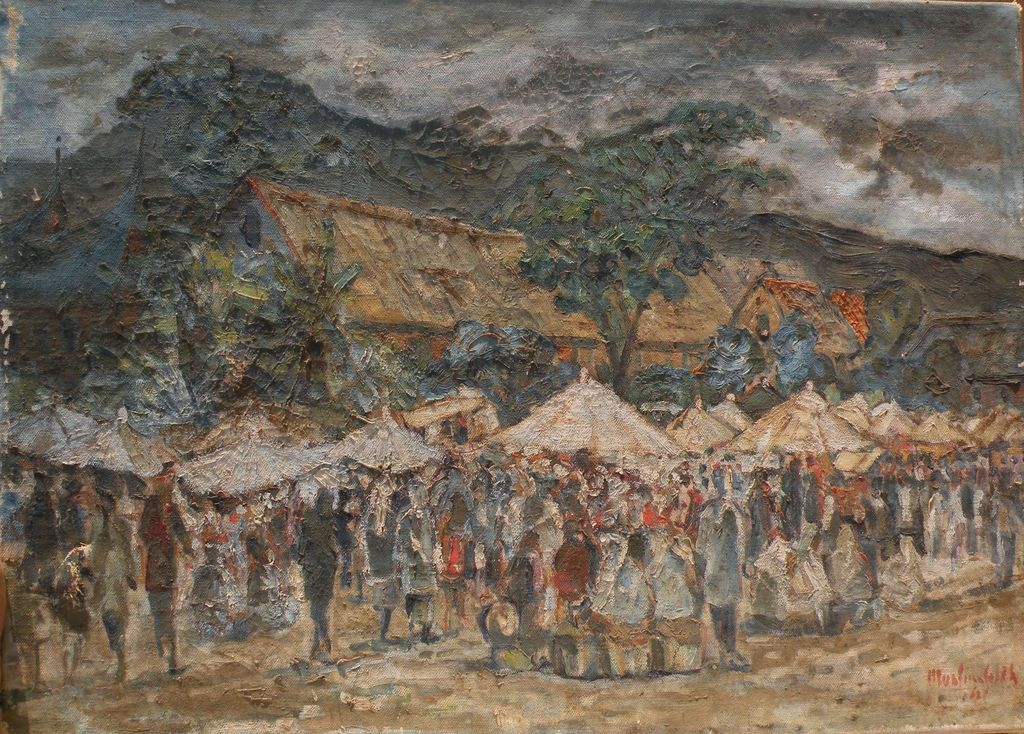 MUSLIM SALEH (1927-) Indonesian art 1962 painting of marketplace in a landscape