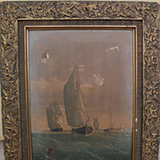 Antique American Victorian frame with chromolithograph of marine scene by George Curtis (1826-1881)